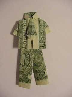 Dollar Bill Origami Shirt With Tie - designs by vintage finds origami shirt and tie