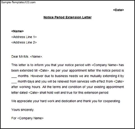 Employment Extension Letter Notice Period Extension Letter Format Sle Templates