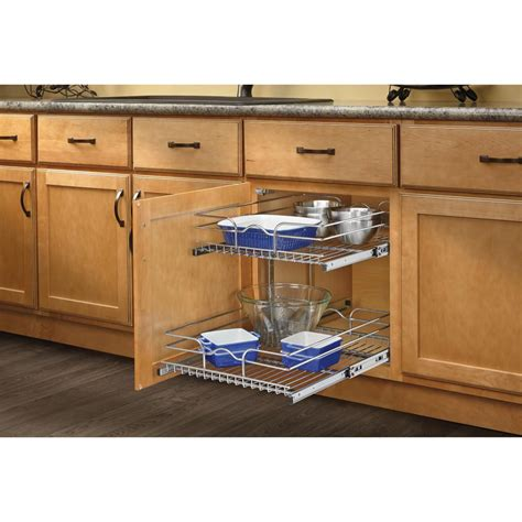 home depot pull out shelves rev a shelf 19 in h x 17 75 in w x 22 in d base cabinet pull out chrome 2 tier wire basket