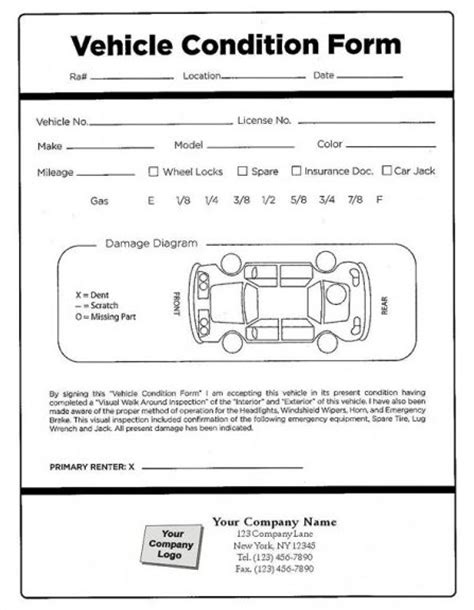vehicle condition report templates find word templates