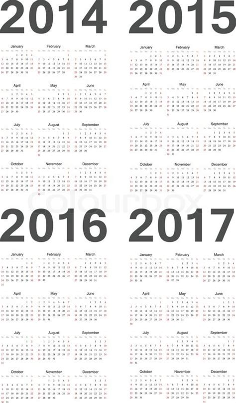 2014 To 2017 Calendar European 2014 2015 2016 2017 Year Vector Calendars