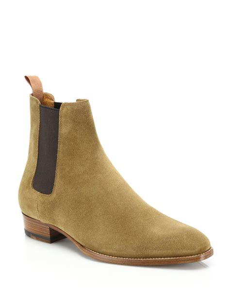 laurent suede chelsea boots in brown for lyst