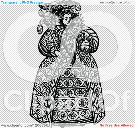 Clipart of Vintage Black and White Queen Elizabeth the ... Free Clipart Queen Elizabeth