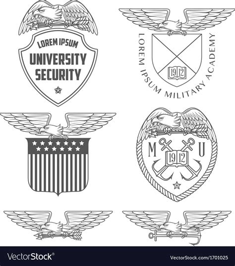 military design elements 25 vector military labels badges and design elements vector image