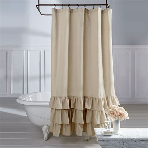 linen ruffle curtain veratex linen vintage ruffle shower curtain overstock