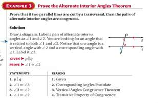 How To Find The Measure Of Interior Angles Stageometrych3 Alternate Interior Angles Theorem And