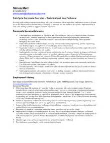Sle Recruiter Resume by Us It Recruiter Resume Sle Resume Sles