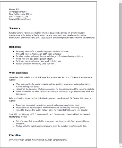 Resume For Maintenance by Professional General Maintenance Worker Templates To