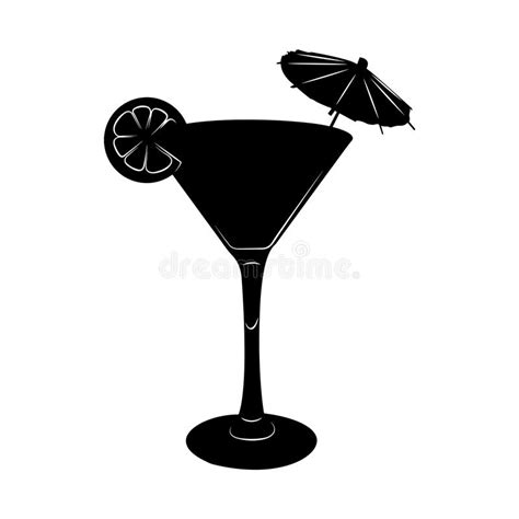 martini silhouette martini cocktail glass illustration with umbrella and