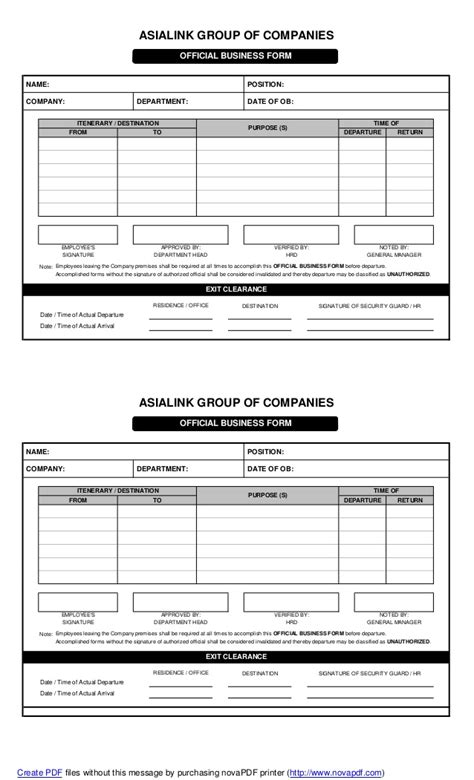 business form official business form