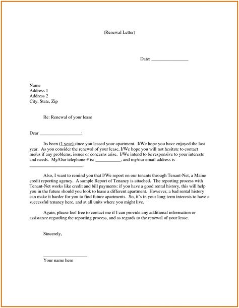 renewing lease letter template samples letter