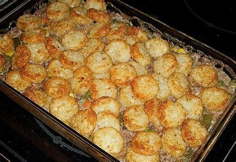 country comfort food venison or ground beef tater tot casserole country
