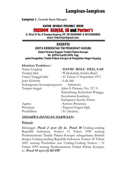 contoh surat gugatan dan eksepsi contoh perbuatan hukum perdata dan hukum pidana id 2017