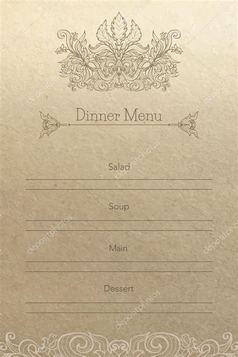 vintage dinner vintage dinner menu background stock vector