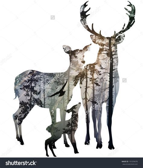 deer family silhouette clip art 77