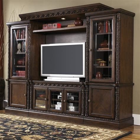 entertainment room furniture signature design by furniture shore entertainment center in brown w553 31 33 34