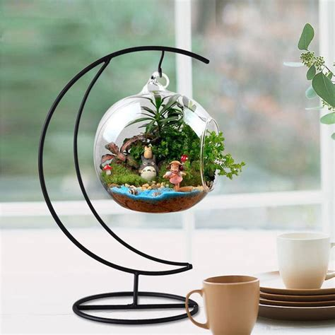 table top herb garden moon shape hanging vase plant stand holder wooden base