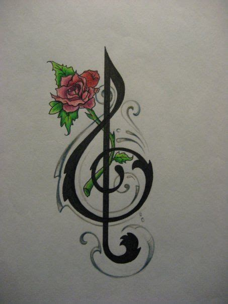treble clef with rose tattoo 26 best treble clef images on