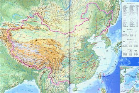 physical map of china china map of topography china relief map in large version