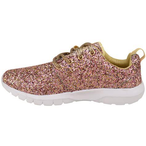 womens glitter sneakers womens lace up glitter sparkly trainers sneakers