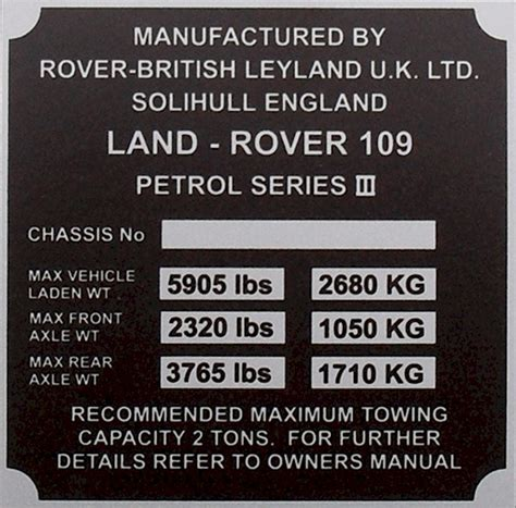 vin plates replacement vehicle identification number