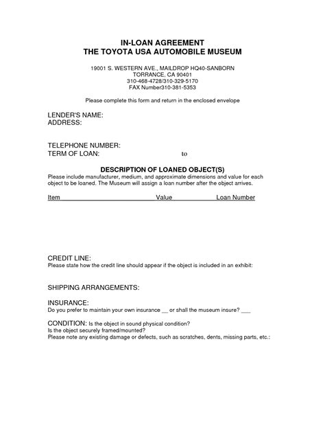 corporate loan agreement form car payment contract