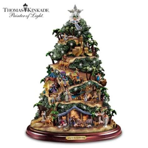 thomas kinkade harbor christmas tree kinkade illuminated nativity tabletop tree to the newborn king