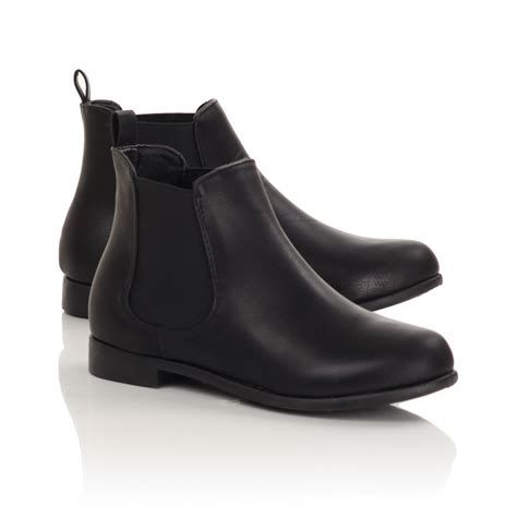 womens black gusset ankle boots