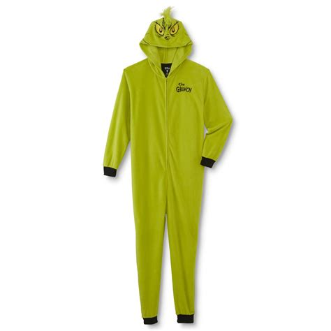Bumkins The Grinch Men's One Piece Hooded Christmas Pajamas