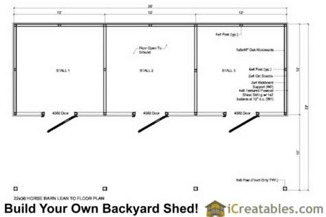 small horse barn floor plans 3 stall horse barn plans with lean to icreatables sheds