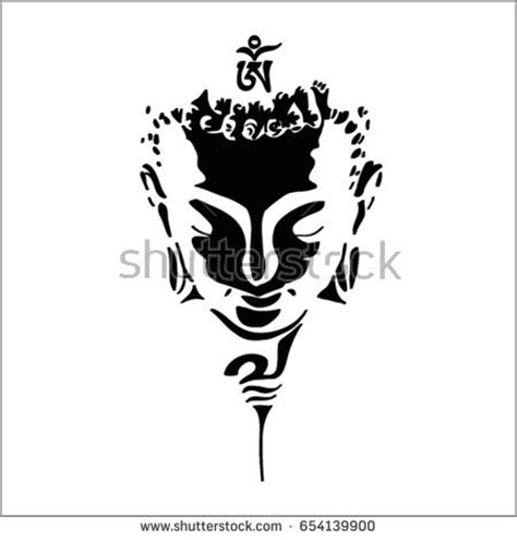 buddha head silhouette drawing vector ohm stock vector