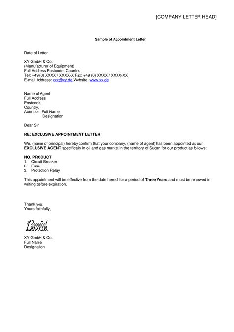 business representative appointment letter templates