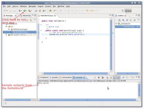 java tutorial hello world eclipse debian linux install eclipse java c c ide nixcraft