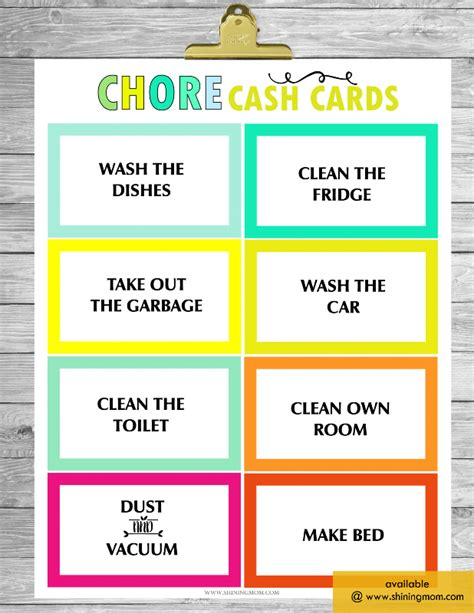 chore card template free printable chore charts that work