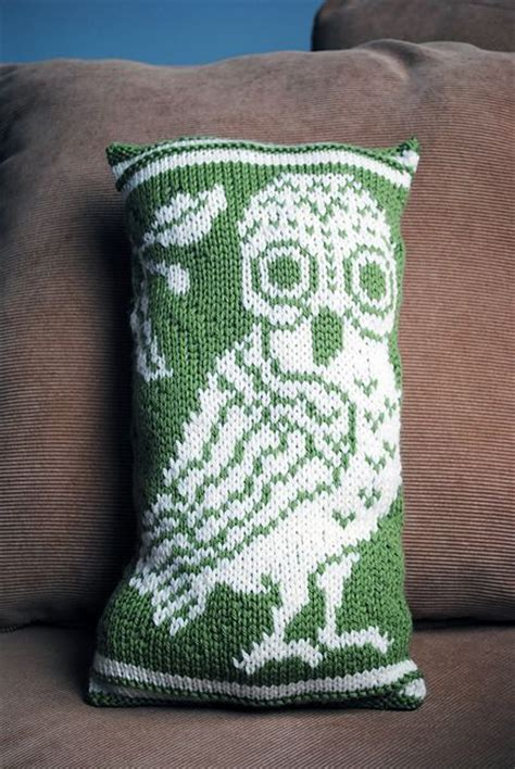 knitted owl cushion athena s owl pillow by kalliopi aronis knitting