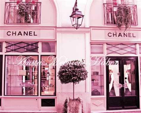 chanel print in pink wall fashion