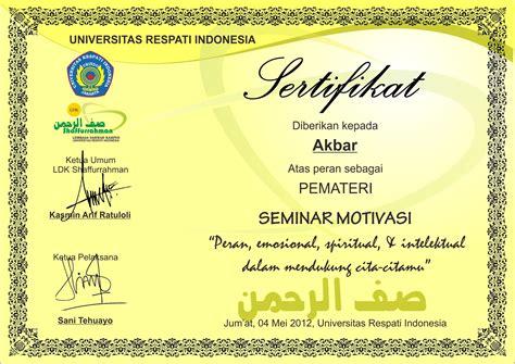 desain sertifikat format cdr asal tau
