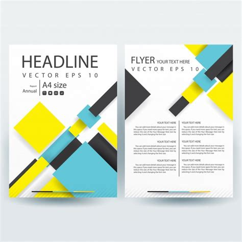 yellow business brochure template with geometric shapes business brochure template with yellow and blue geometric