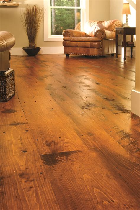 Rustic Wide Plank Flooring Eastern Hit Or Miss White Pine In A Traditional Living Room