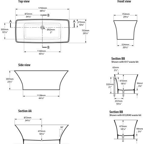 dimension baignoire 1339 baignoire ilot moderne ravello par albert baths