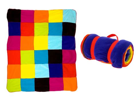 Patchwork Products - pt fleece blanket colourful patchwork with carry