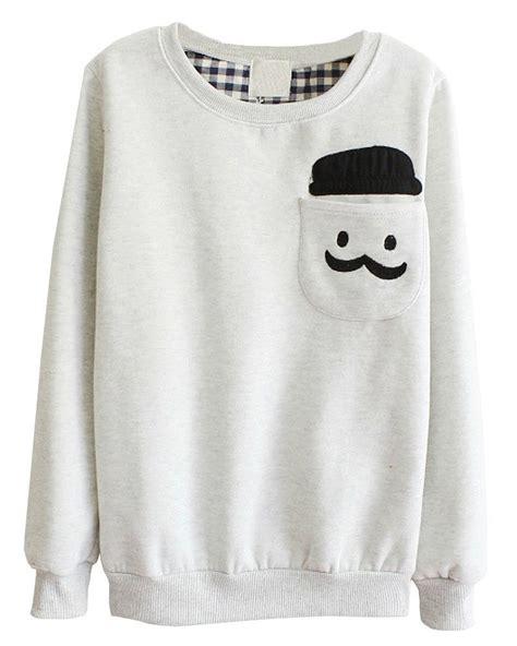 Longcoat Finny Navy Jaket Sweater 0109 sleeve mustache pocket fleece crew sweatshirt pullover grey clothing