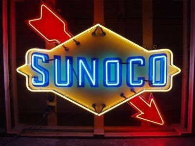 sunoco lighted signs for sale sunoco large neon with diagonal arrow porcelain sign