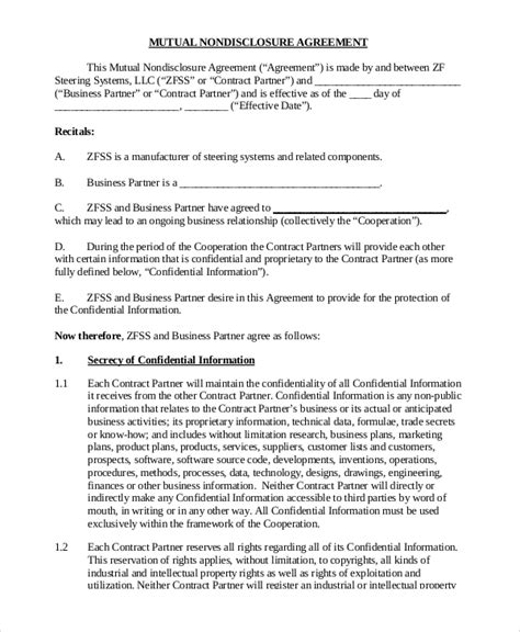 10 Sle Non Disclosure Agreement Forms Sle Templates Non Disclosure Statement Template