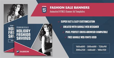 Fashion Sale Banners Html5 Animated Gwd By Infiniweb Codecanyon Html5 Ad Templates