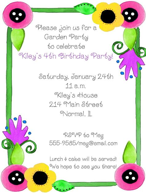 birthday garden invitation wording 17 best images about invite on gardens birthday invitations and
