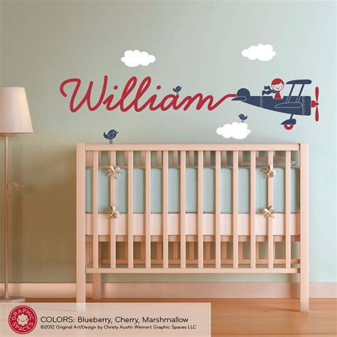 theme room names airplane name wall decal boy skywriter for baby nursery