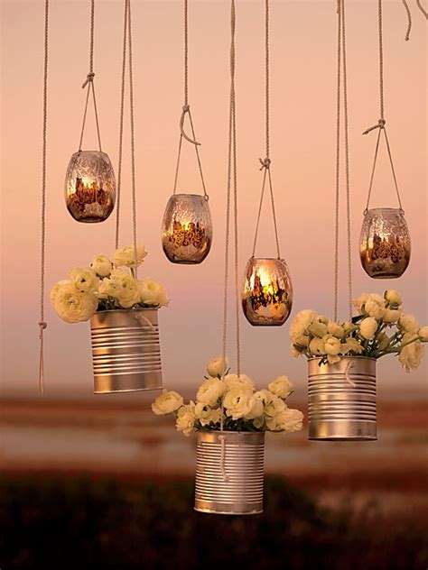 hanging voltive and flower arrangements wedding decor