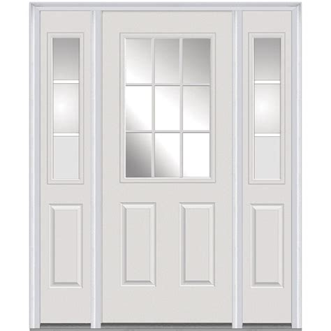 Door Lites Exterior Doors Mmi Door 60 In X 80 In Grilles Right 1 2 Lite 2 Panel Classic Primed Steel
