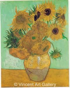 still vase with twelve sunflowers by vincent